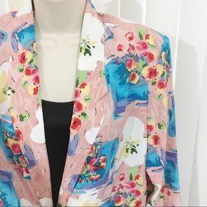 Vintage Spring Floral Blazer Jacket Medium